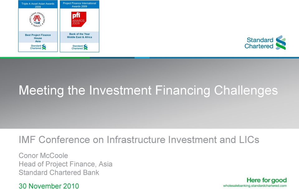 IMF Conference on Infrastructure Investment and LICs Conor McCoole