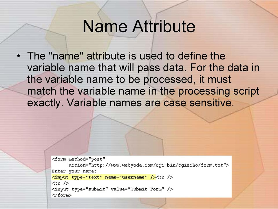 For the data in the variable name to be processed, it must