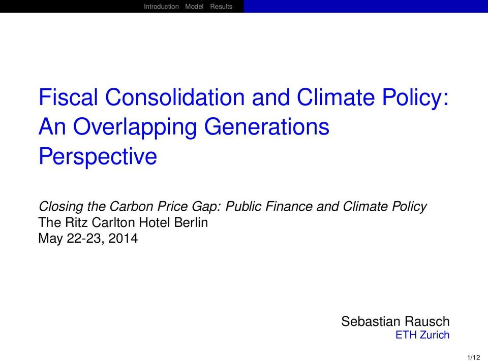 Public Finance and Climate Policy The Ritz Carlton