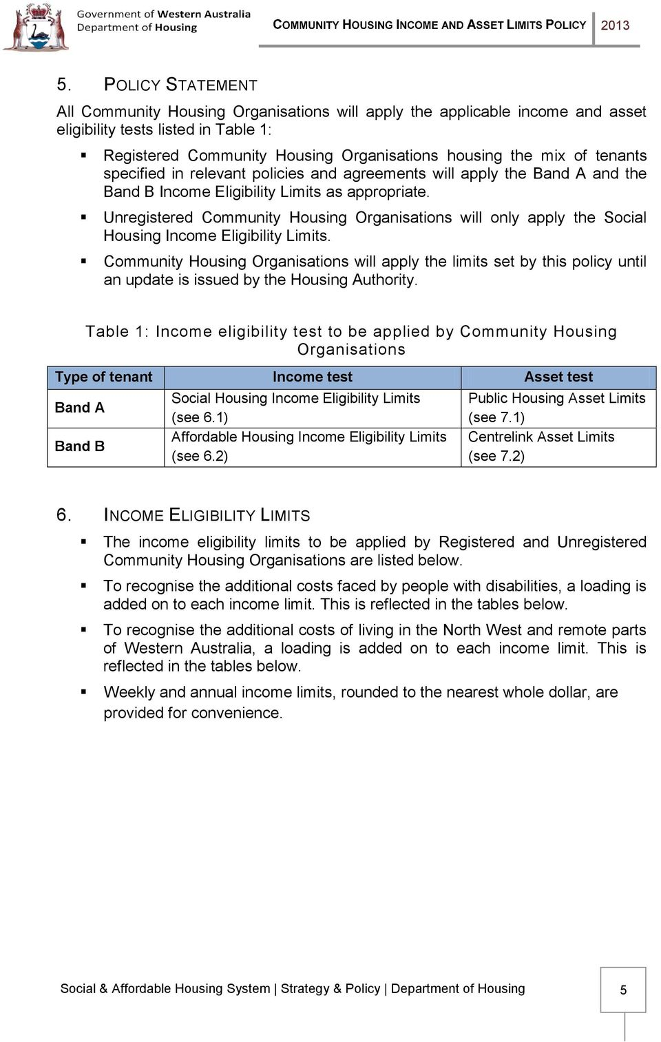 Unregistered Community Housing Organisations will only apply the Social Housing Income Eligibility Limits.
