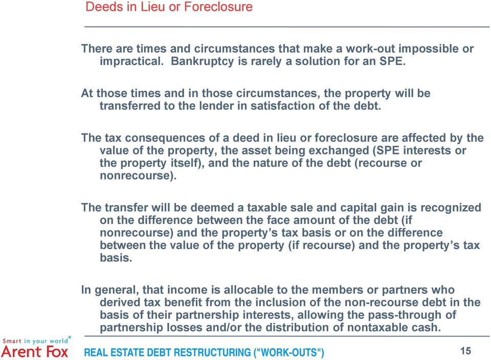 The tax consequences of a deed in lieu or foreclosure are affected by the value of the property, the asset being exchanged (SPE interests or the property itself), and the nature of the debt (recourse