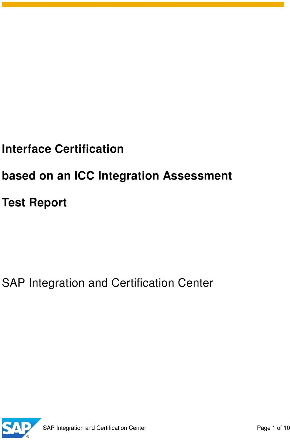 Integration and Certification Center SAP