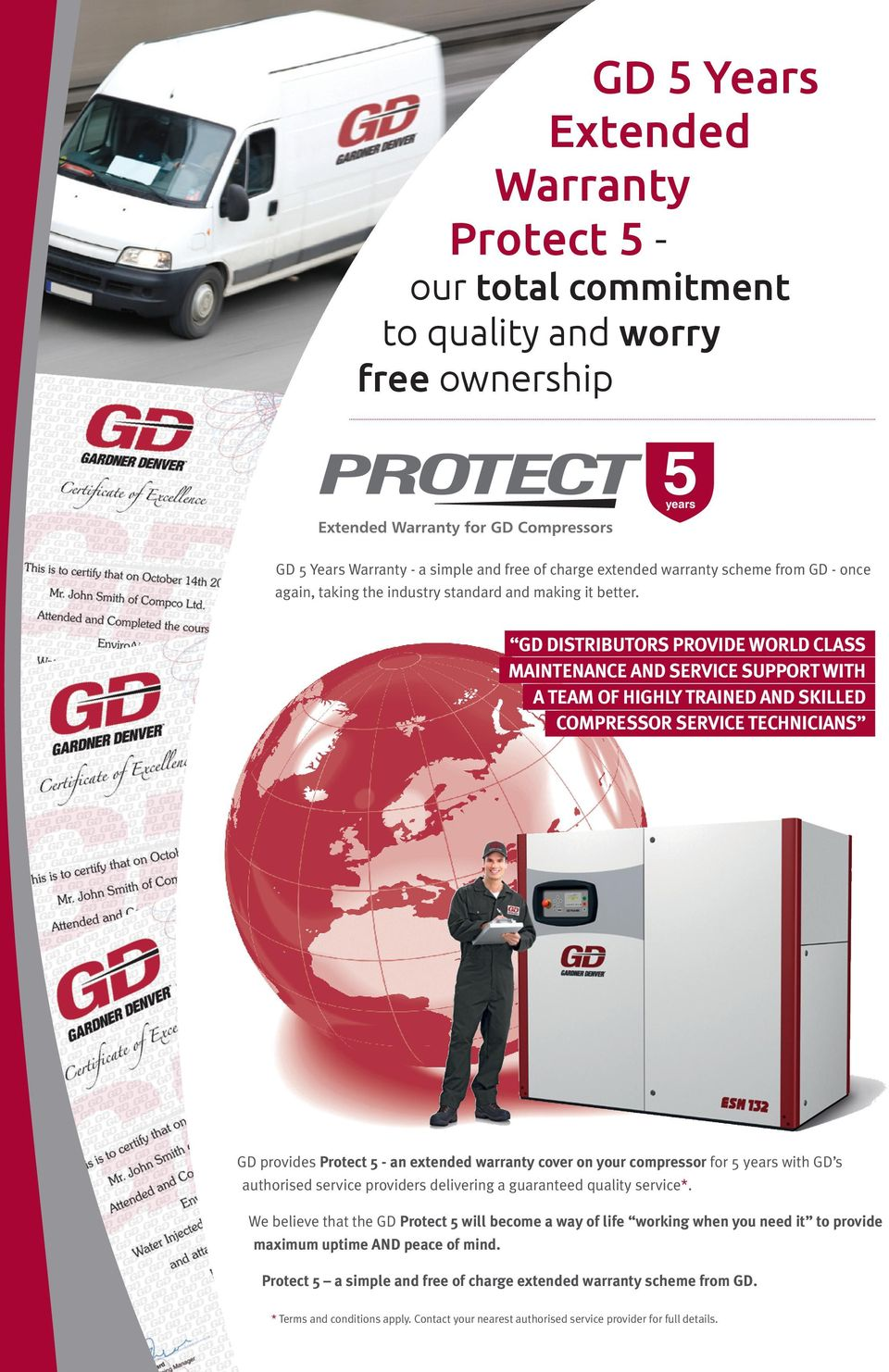 GD DIstributors provide world class maintenance and service support with a team of highly trained and skilled compressor service technicians GD provides Protect 5 - an extended warranty cover on your