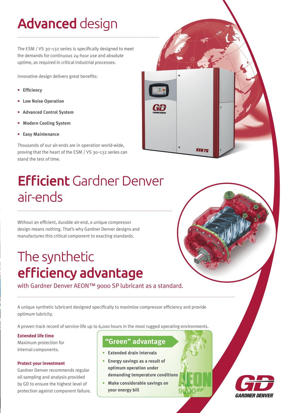 that the heart of the ESM / VS 30 132 series can stand the test of time. Efficient Gardner Denver air-ends Without an efficient, durable air-end, a unique compressor design means nothing.