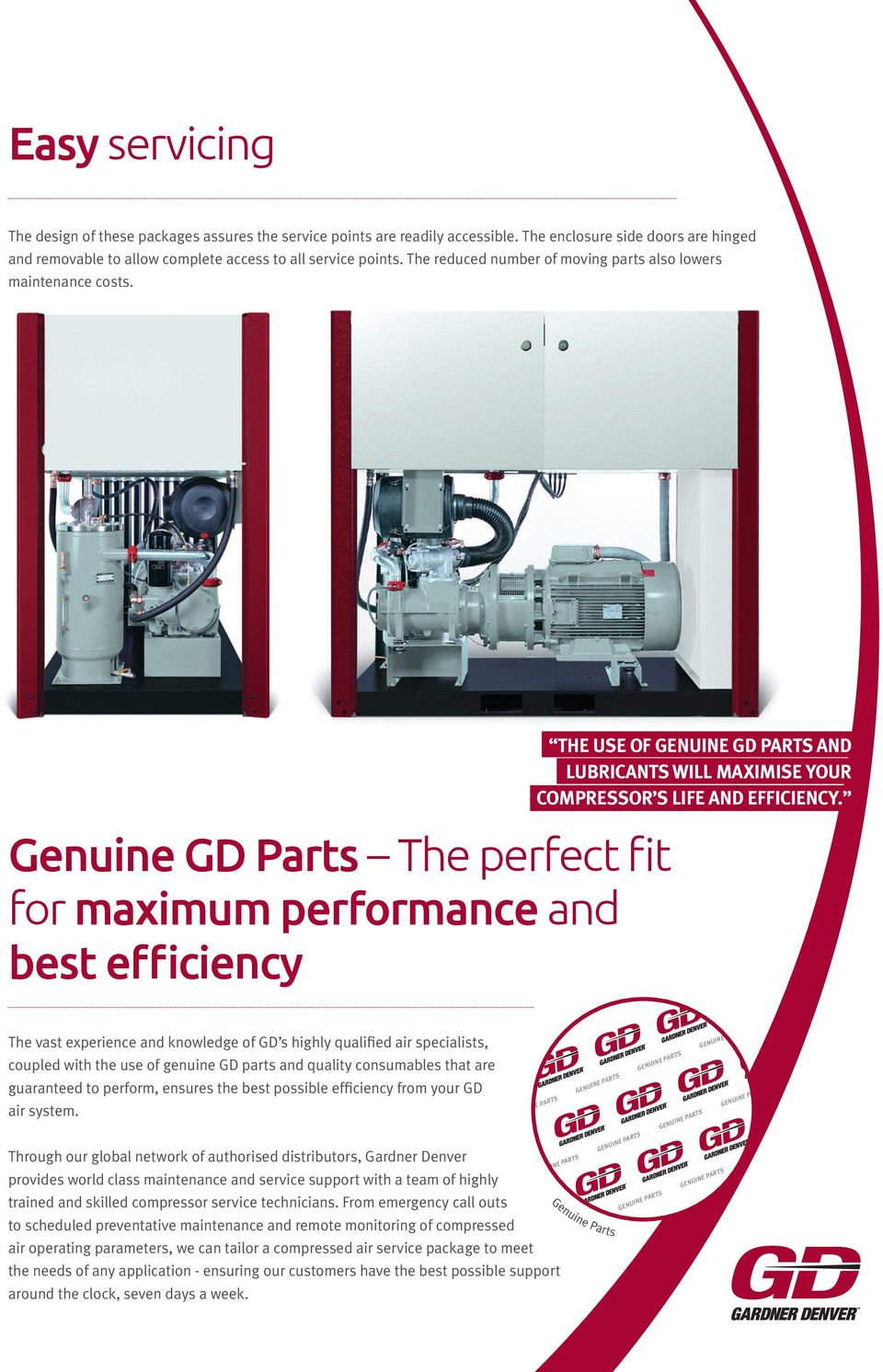 Genuine GD Parts The perfect fit for maximum performance and best efficiency the use of genuine GD parts and lubricants will maximise your compressor s life and efficiency.