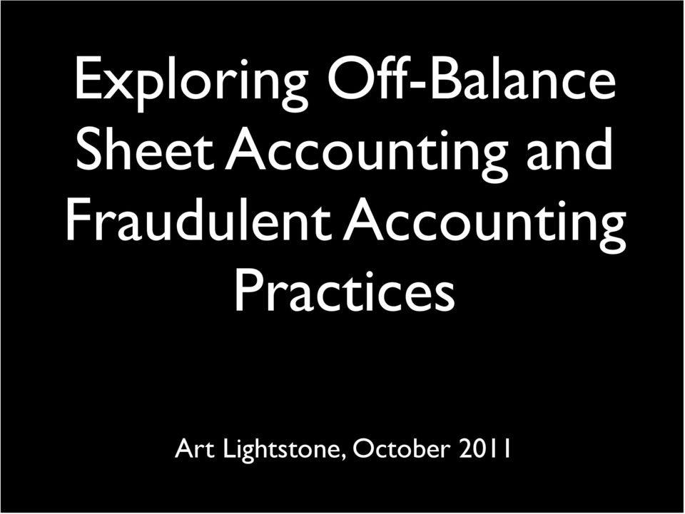 Fraudulent Accounting