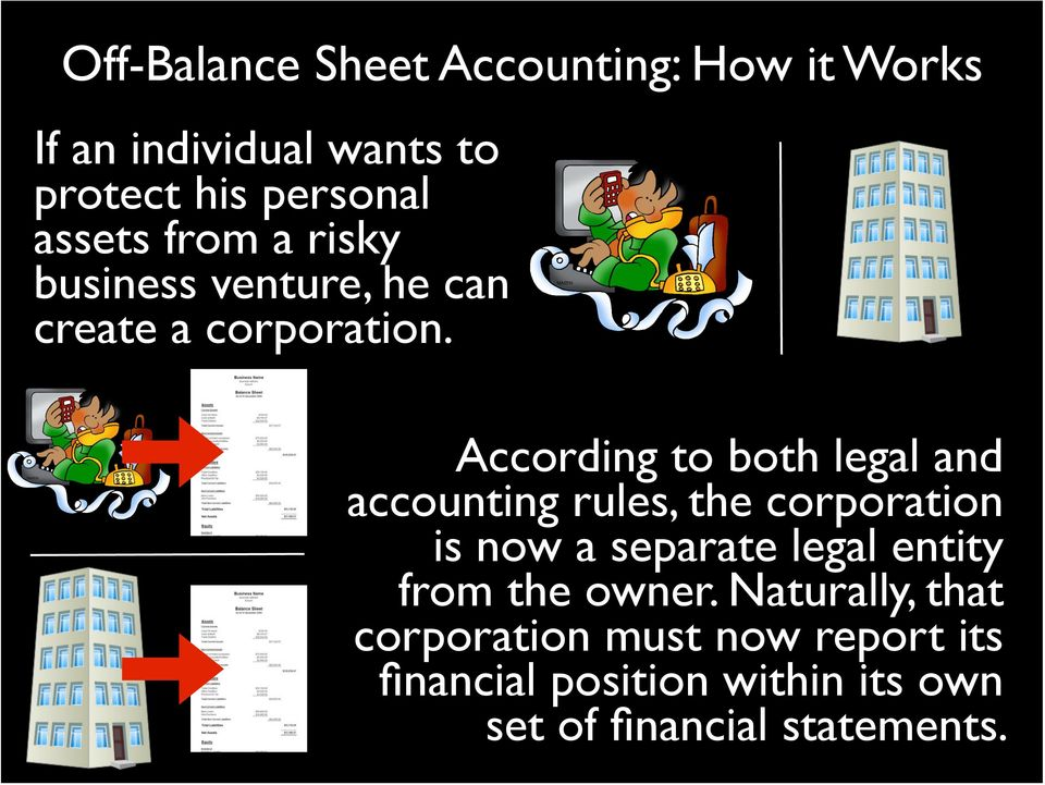 According to both legal and accounting rules, the corporation is now a separate legal entity