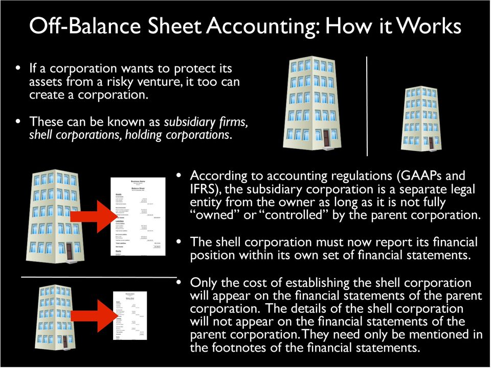 According to accounting regulations (GAAPs and IFRS), the subsidiary corporation is a separate legal entity from the owner as long as it is not fully owned or controlled by the parent corporation.