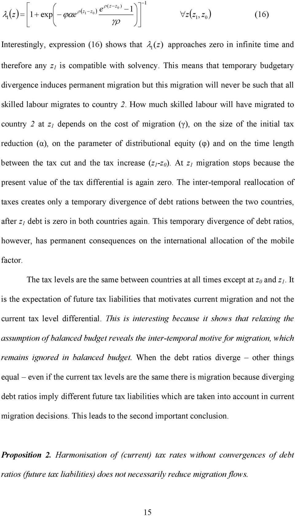 How much skilled labour will have migrated to country 2 at z depends on the cost of migration (γ), on the size of the initial tax reduction (α), on the parameter of distributional equity (φ) and on