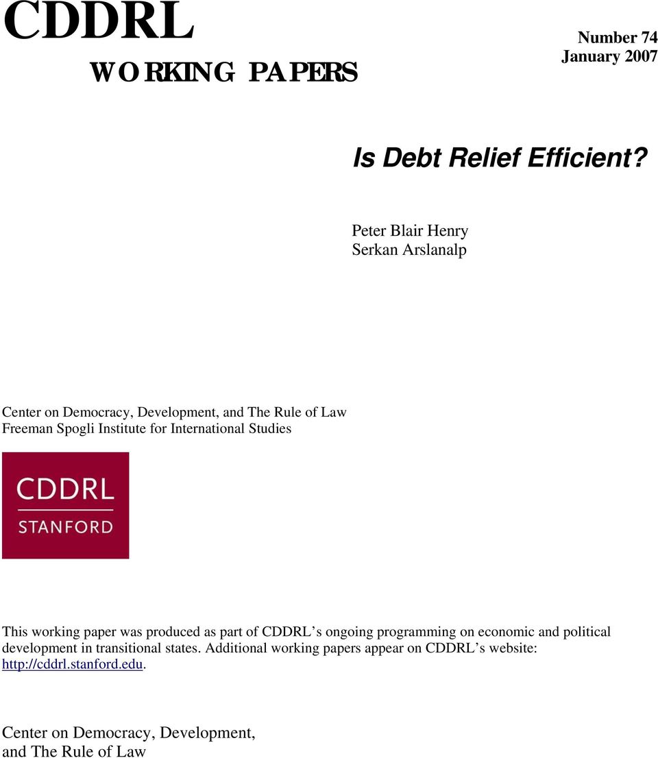 International Studies This working paper was produced as part of CDDRL s ongoing programming on economic and political