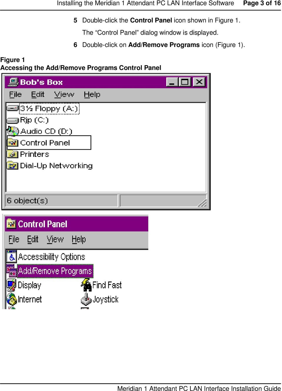 The Control Panel dialog window is displayed.