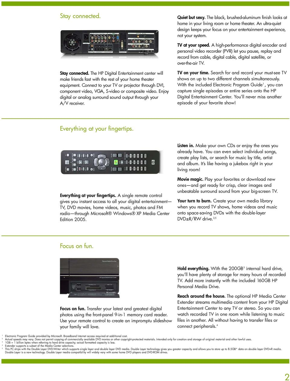 A high-performance digital encoder and personal video recorder (PVR) let you pause, replay and record from cable, digital cable, digital satellite, or over-the-air TV. Stay connected.