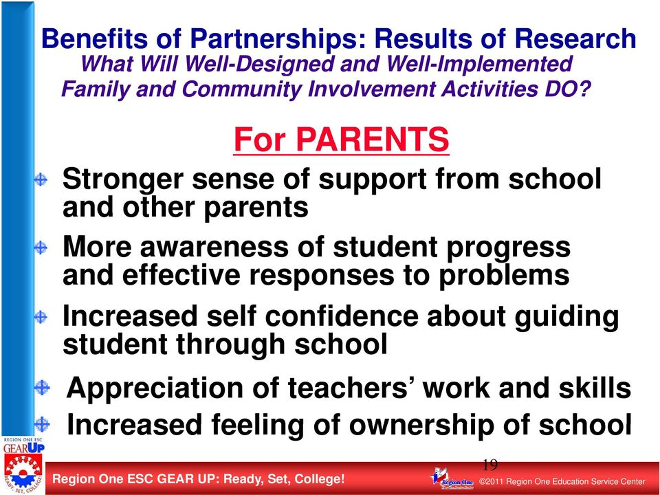 For PARENTS Stronger sense of support from school and other parents More awareness of student progress and effective