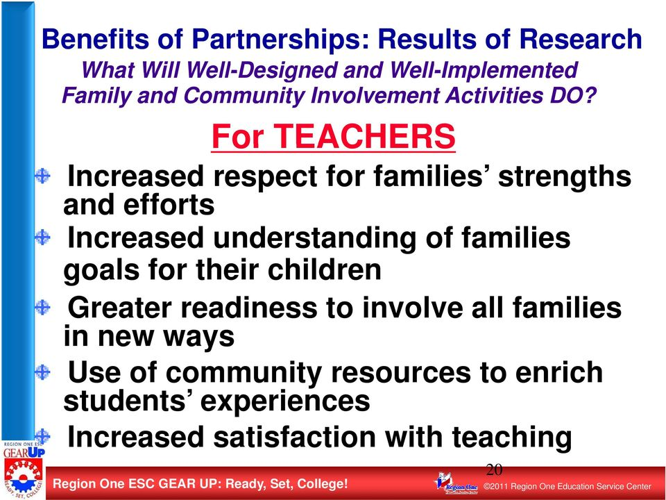For TEACHERS Increased respect for families strengths and efforts Increased understanding of families goals for