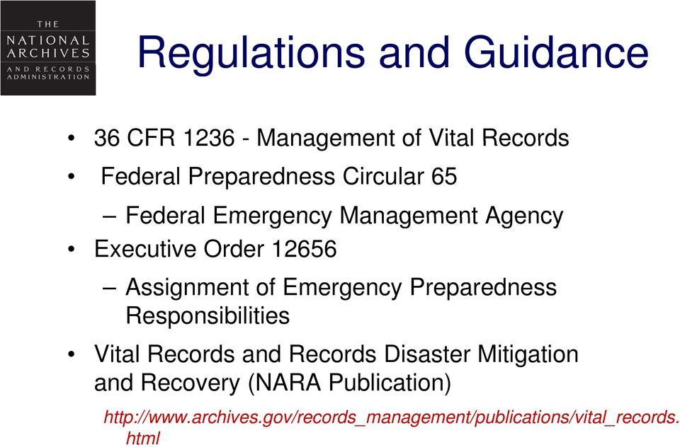 Emergency Preparedness Responsibilities Vital Records and Records Disaster Mitigation and