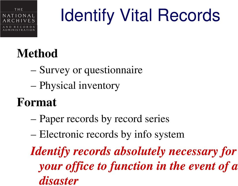 Electronic records by info system Identify records