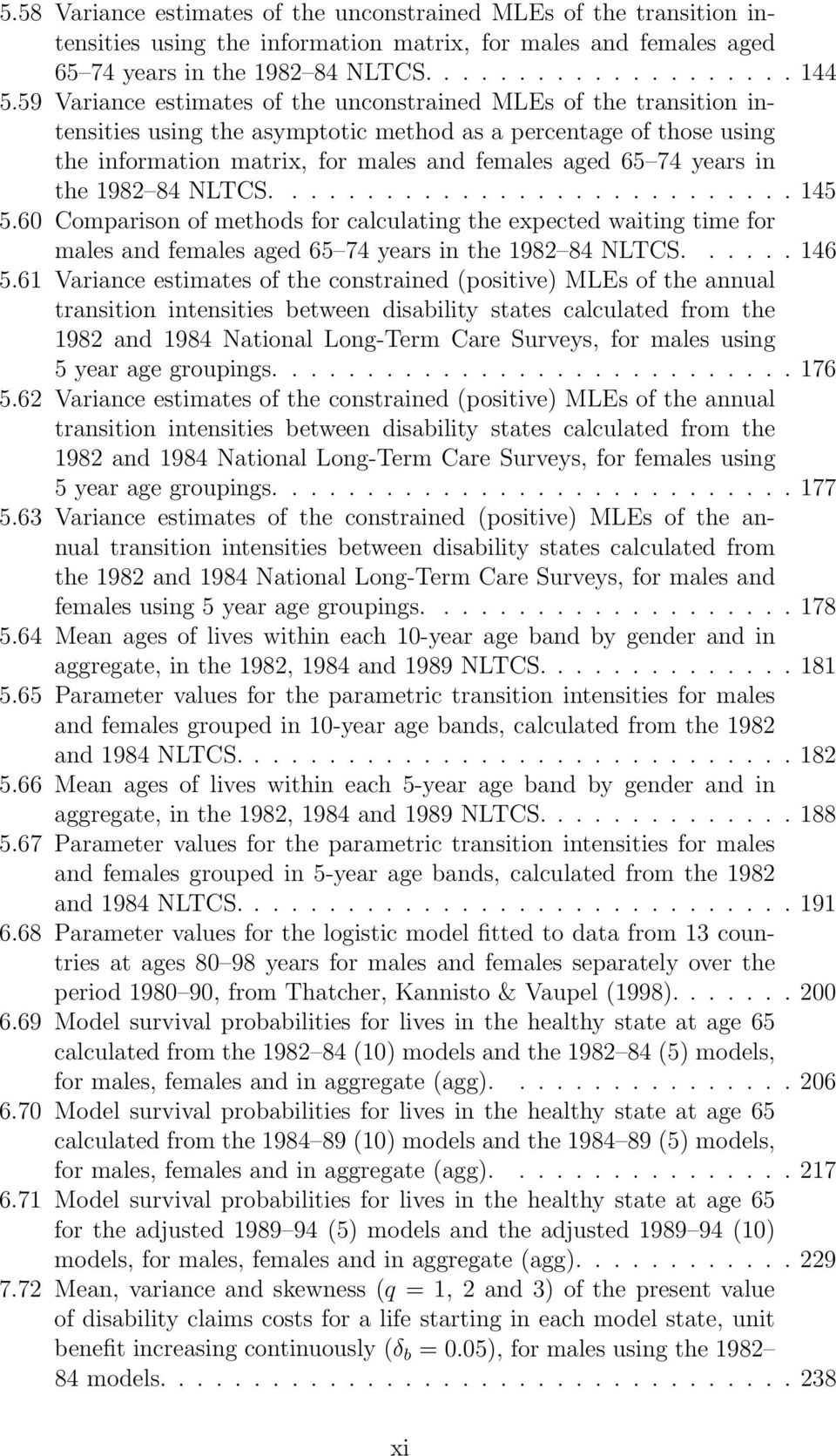 in the 1982 84 NLTCS....145 5.60 Comparison of methods for calculating the expected waiting time for males and females aged 65 74 years in the 1982 84 NLTCS....146 5.