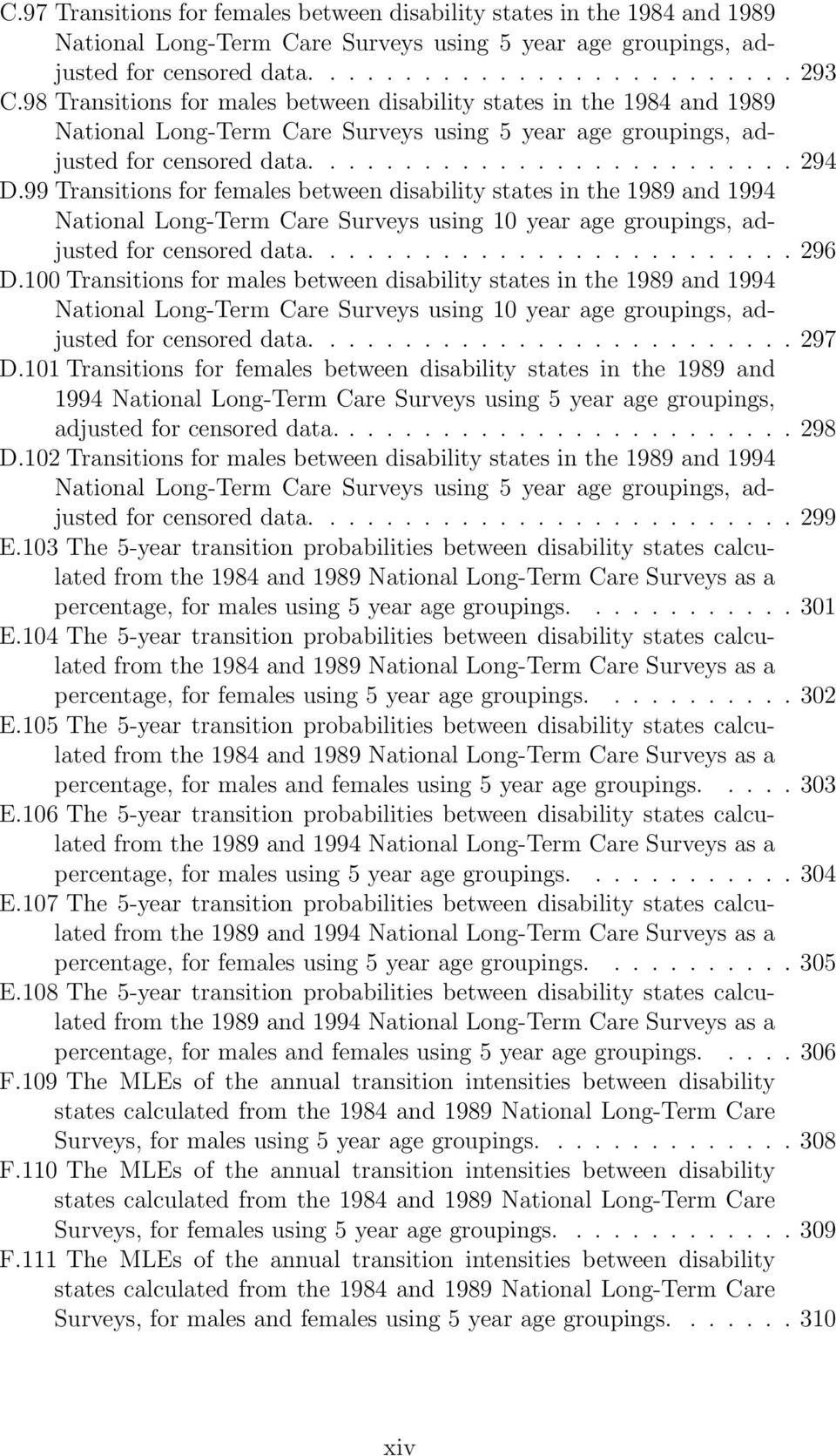 99 Transitions for females between disability states in the 1989 and 1994 National LongTerm Care Surveys using 10 year age groupings, adjusted for censored data....296 D.