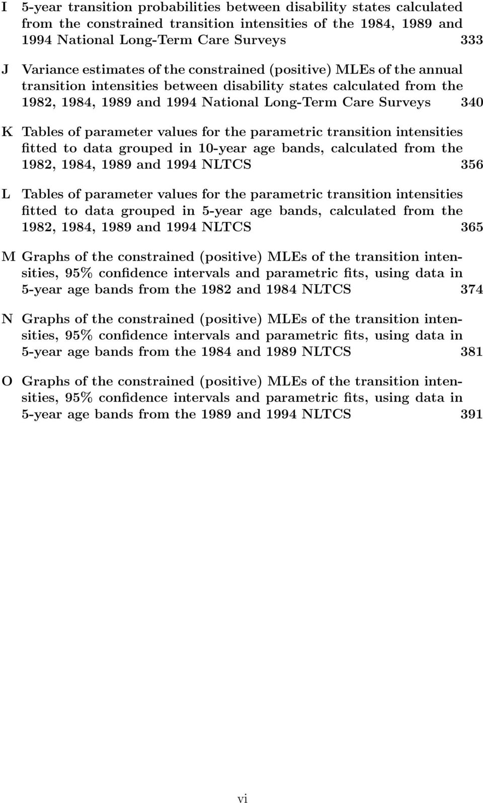 values for the parametric transition intensities fitted to data grouped in 10year age bands, calculated from the 1982, 1984, 1989 and 1994 NLTCS 356 L Tables of parameter values for the parametric