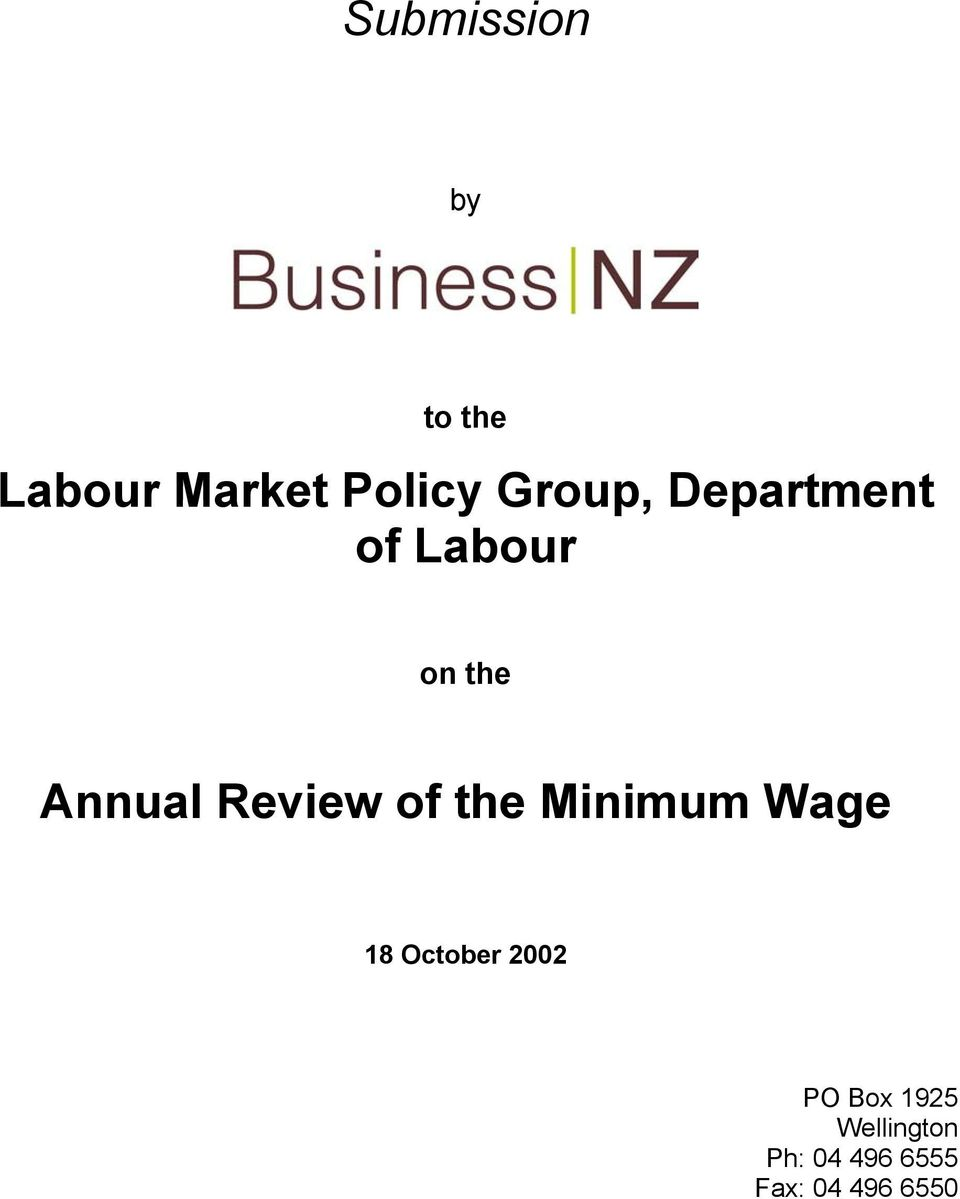 Review of the Minimum Wage 18 October 2002 PO