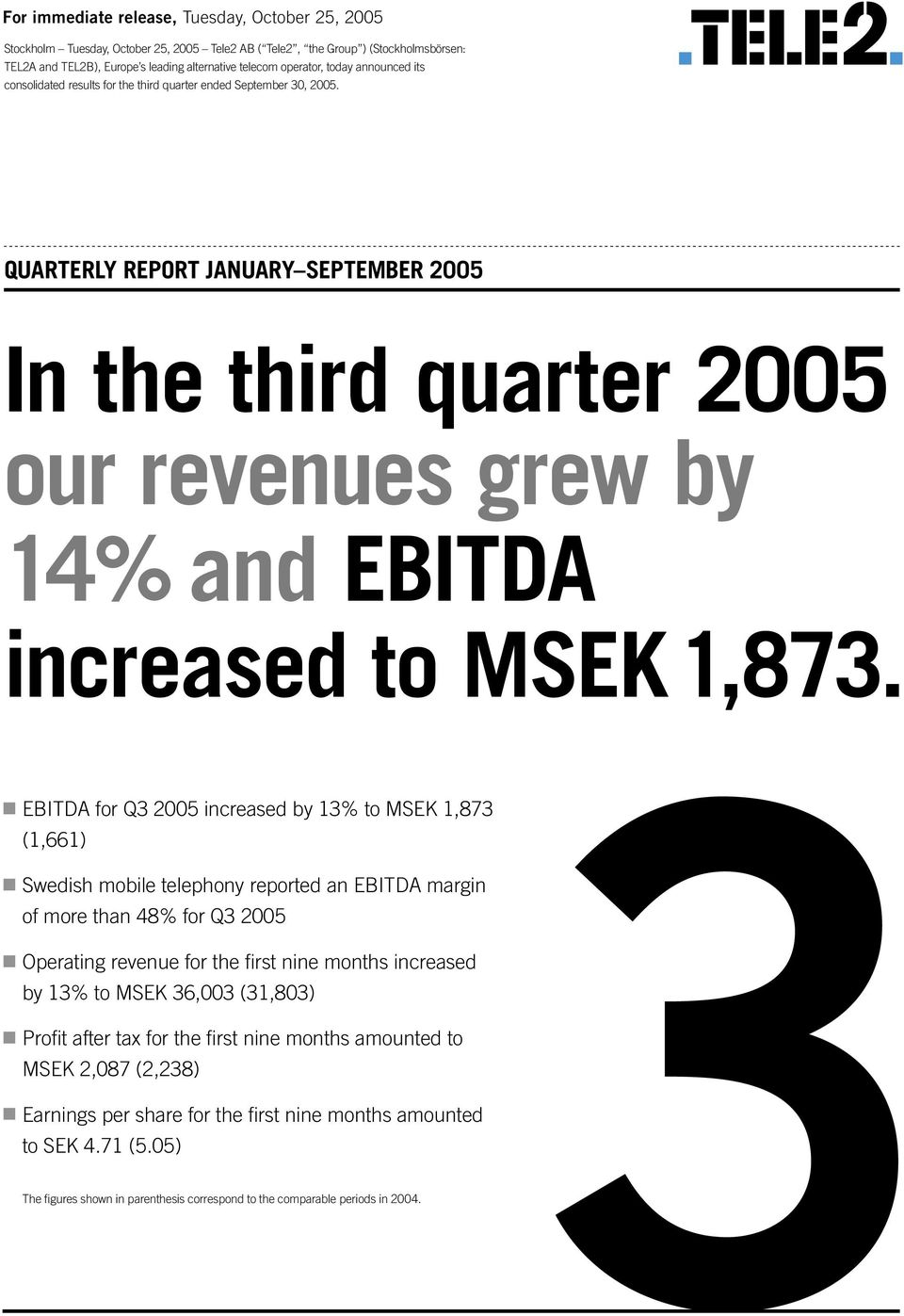QUARTERLY REPORT JANUARY SEPTEMBER 2005 In the third quarter 2005 our revenues grew by 14% and EBITDA increased to MSEK 1,873.