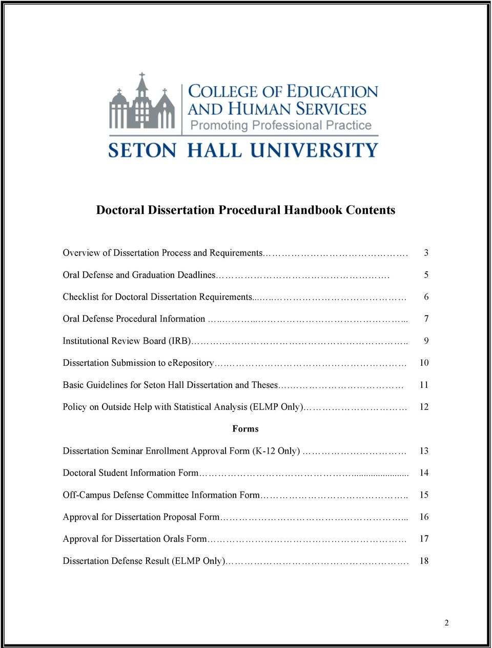10 Basic Guidelines for Seton Hall Dissertation and Theses.