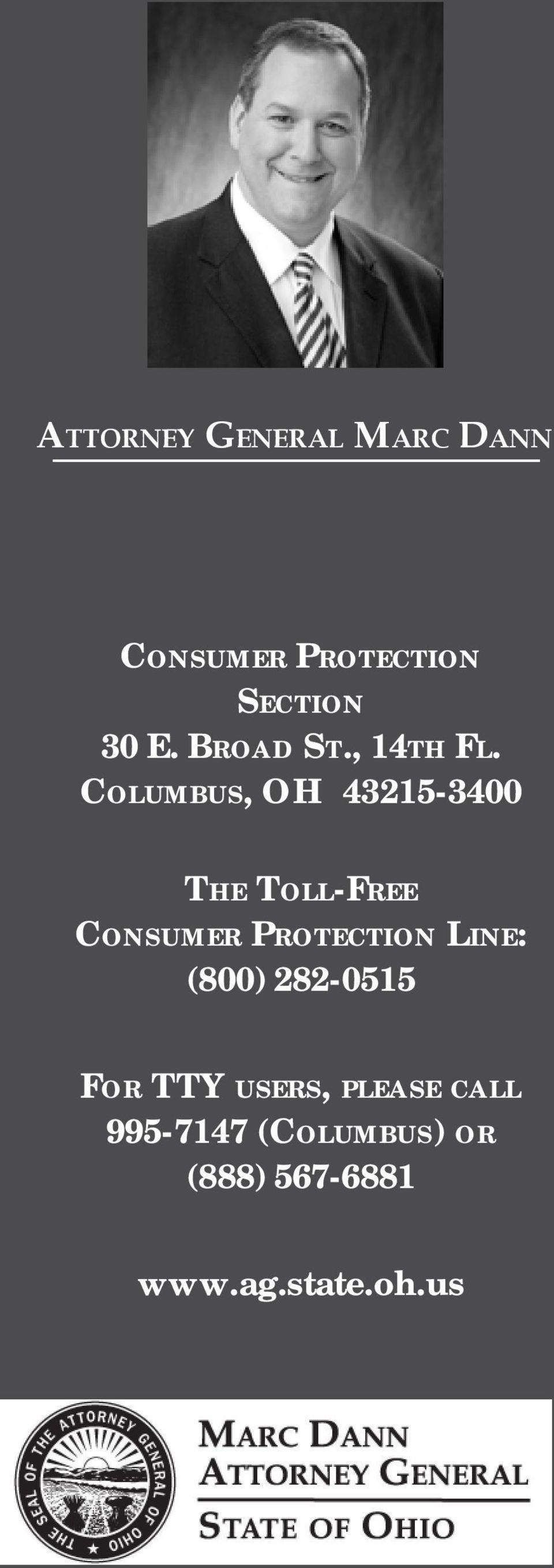 COLUMBUS, OH 43215-3400 THE TOLL-FREE CONSUMER PROTECTION
