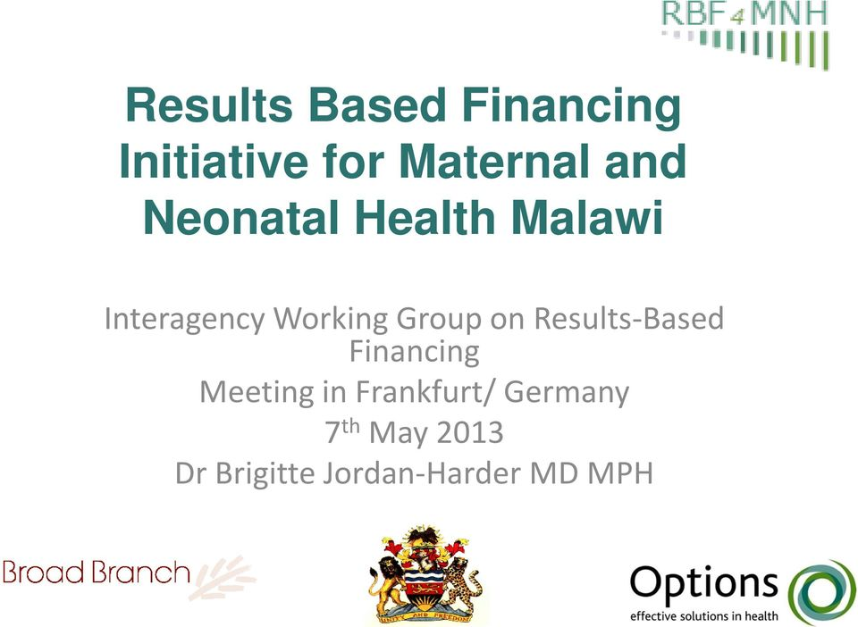 Group on Results-Based Financing Meeting in