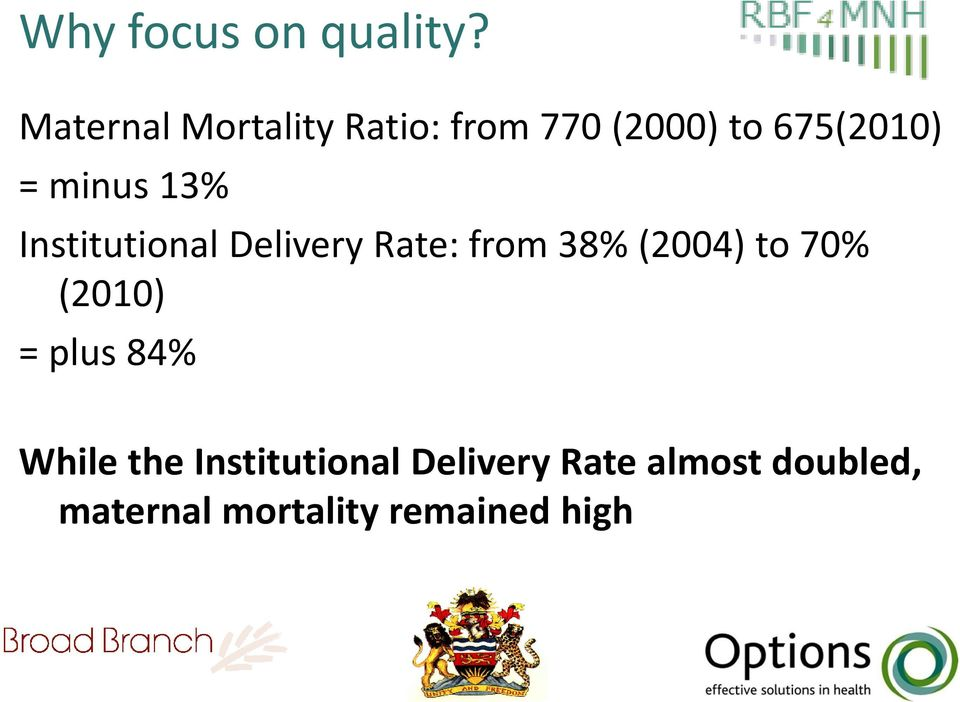 minus 13% Institutional Delivery Rate: from 38% (2004) to 70%