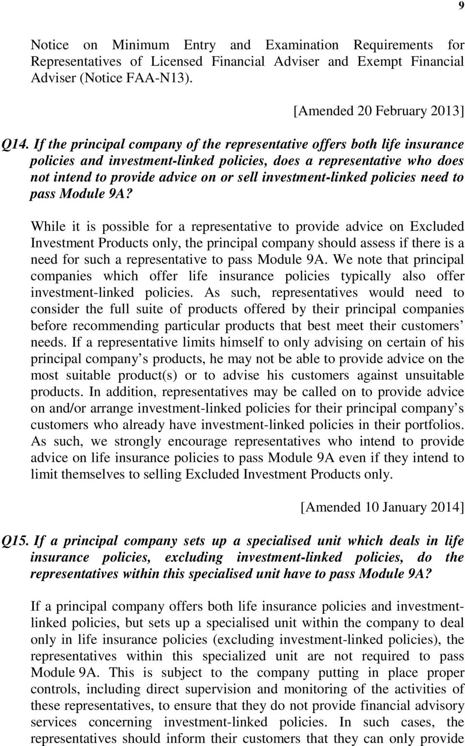 investment-linked policies need to pass Module 9A?