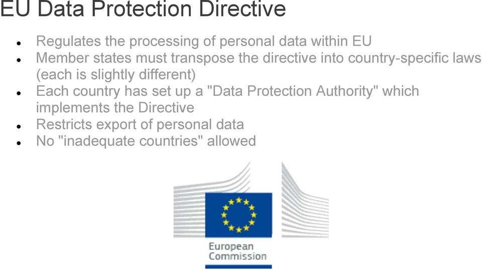 "slightly different) Each country has set up a ""Data Protection Authority"" which"