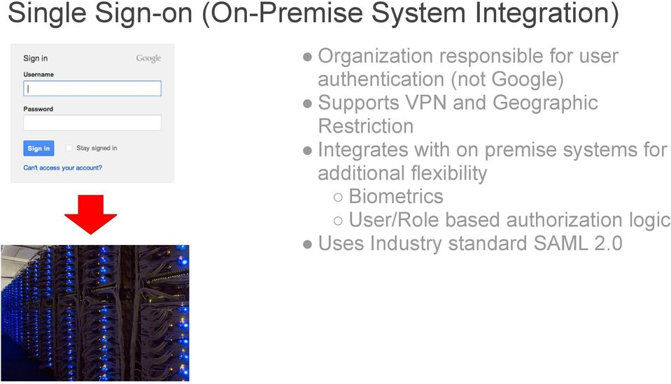 Restriction Integrates with on premise systems for additional