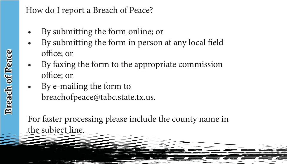 at any local field office; or By faxing the form to the appropriate commission
