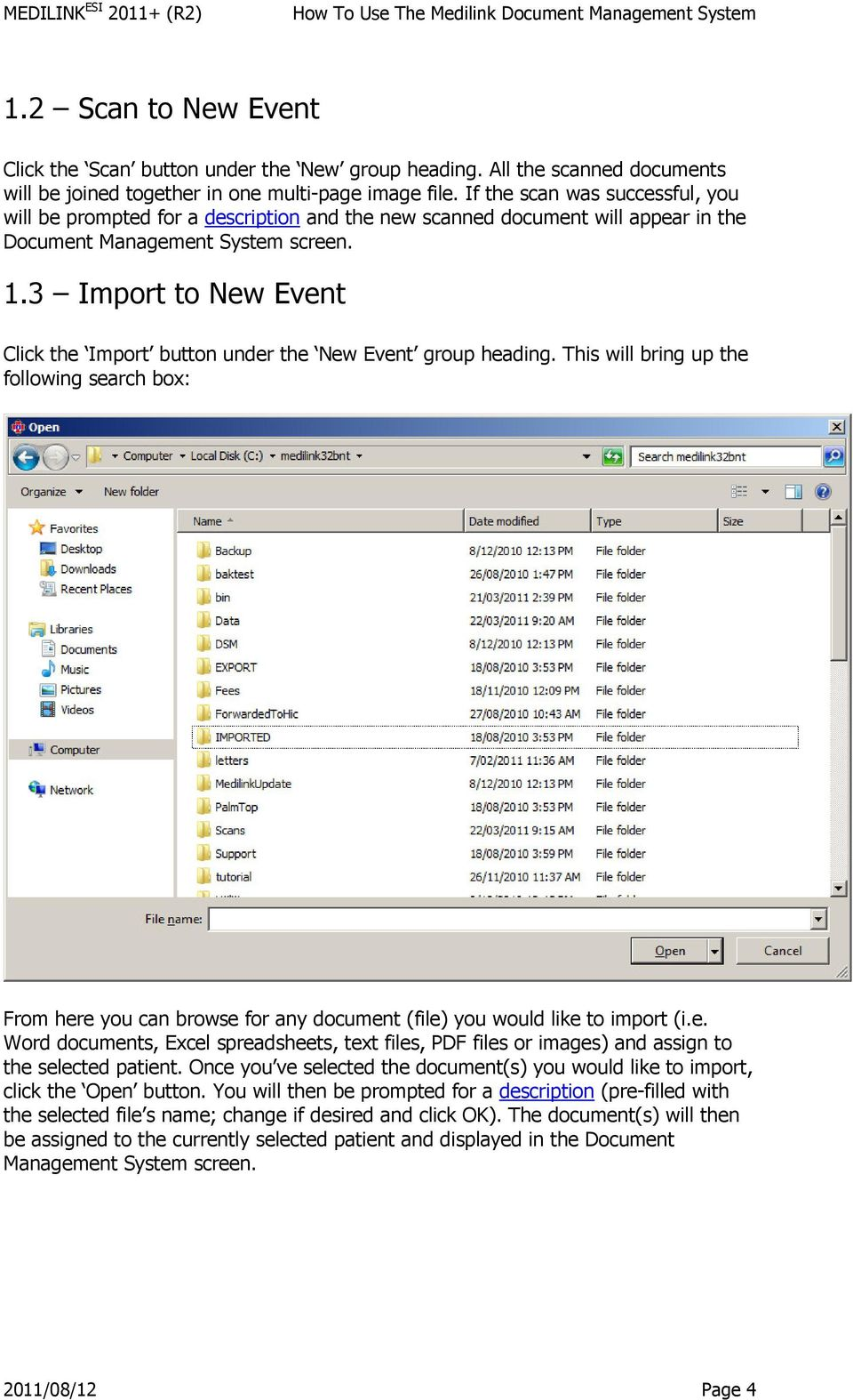 3 Import to New Event Click the Import button under the New Event group heading.