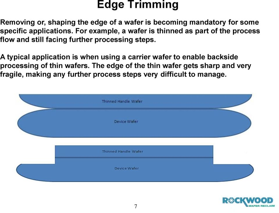 For example, a wafer is thinned as part of the process flow and still facing further processing steps.