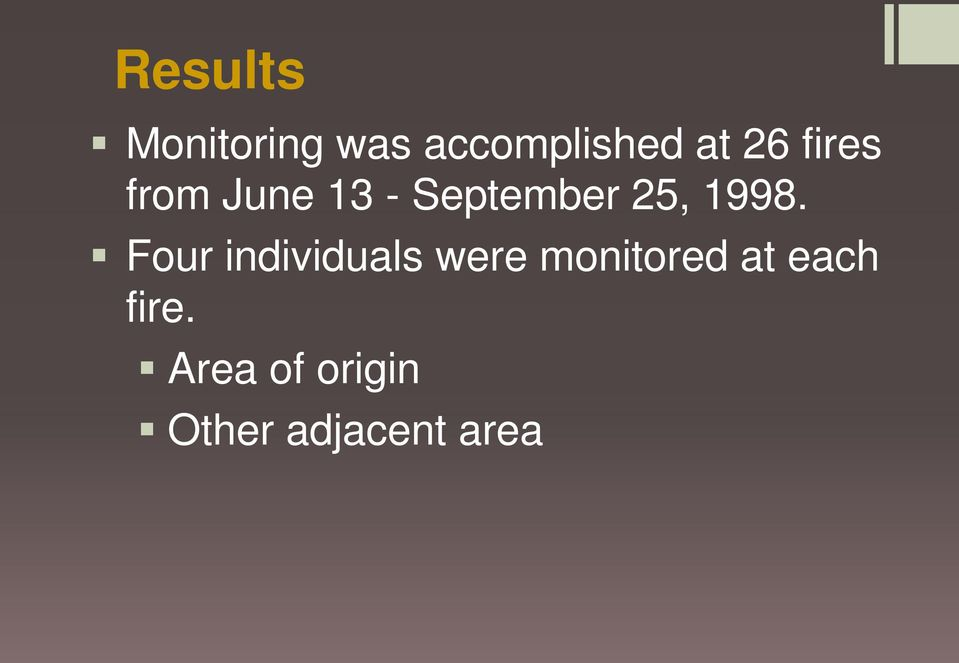 1998. Four individuals were monitored at