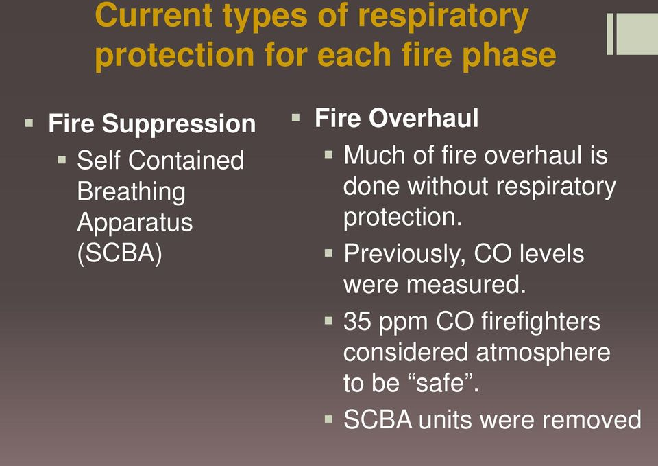 is done without respiratory protection. Previously, CO levels were measured.