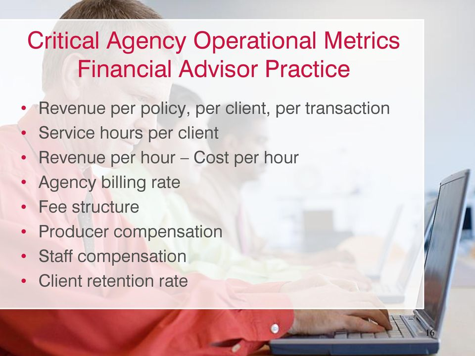 client Revenue per hour Cost per hour Agency billing rate Fee