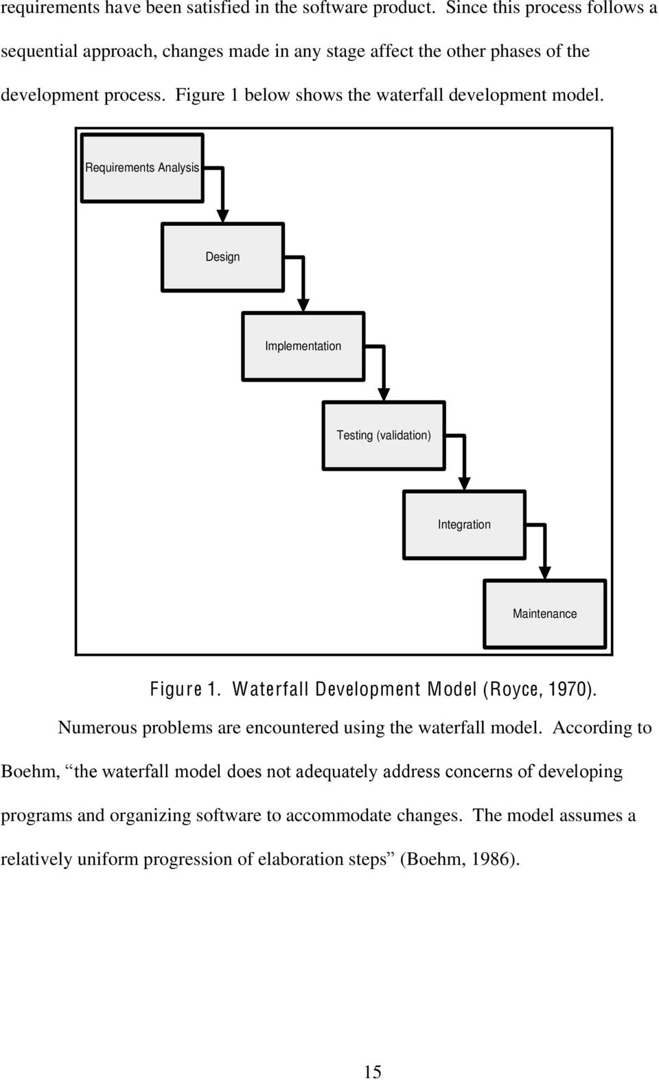 Figure 1 below shows the waterfall development model. Requirements Analysis Design Implementation Testing (validation) Integration Maintenance Figure 1.