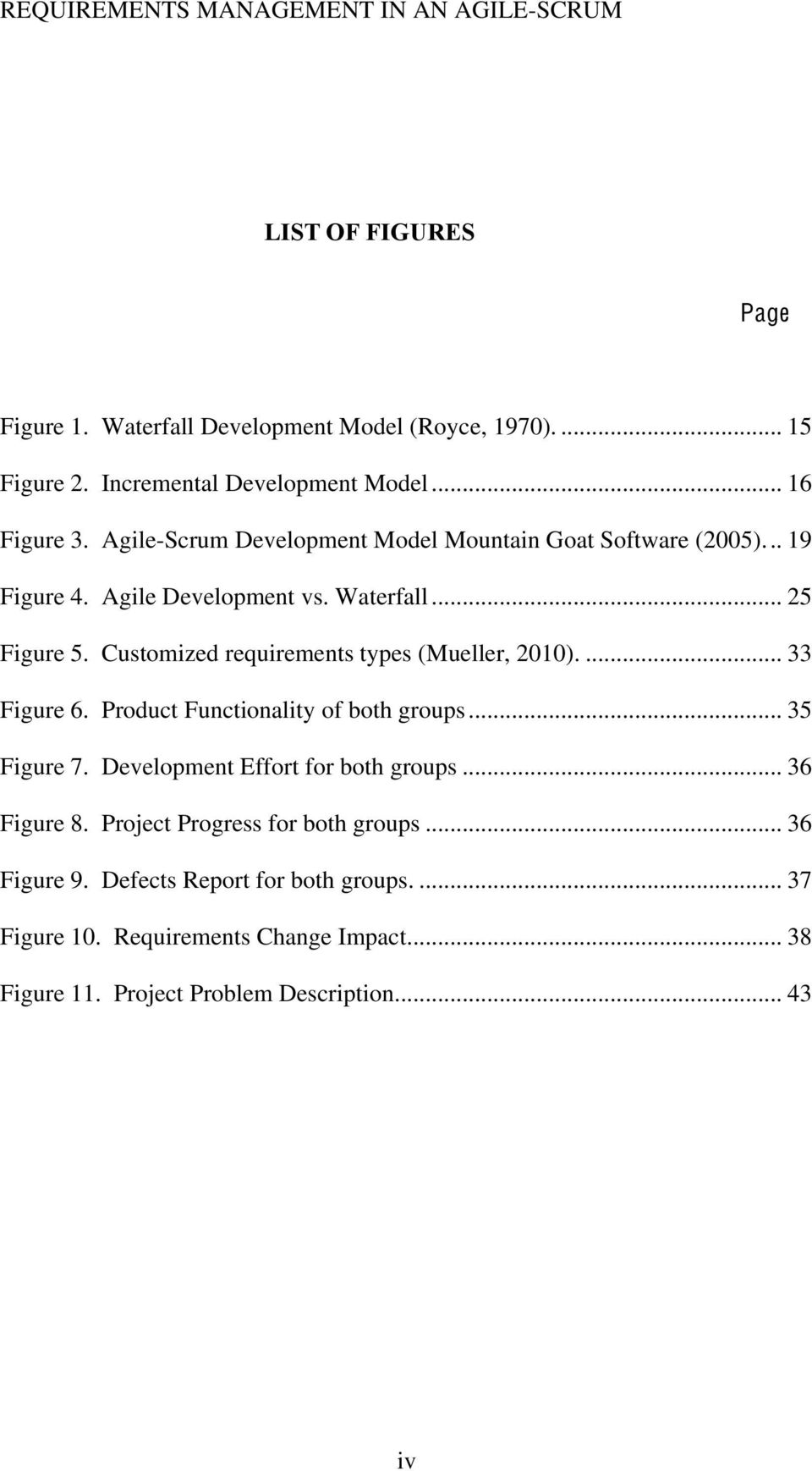 Customized requirements types (Mueller, 2010).... 33 Figure 6. Product Functionality of both groups... 35 Figure 7. Development Effort for both groups.
