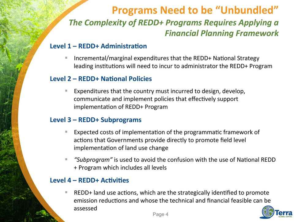 Subprograms Expected costs of implementa=on of the programma=c framework of ac=ons that Governments provide directly to promote field level implementa=on of land use change Subprogram is used to
