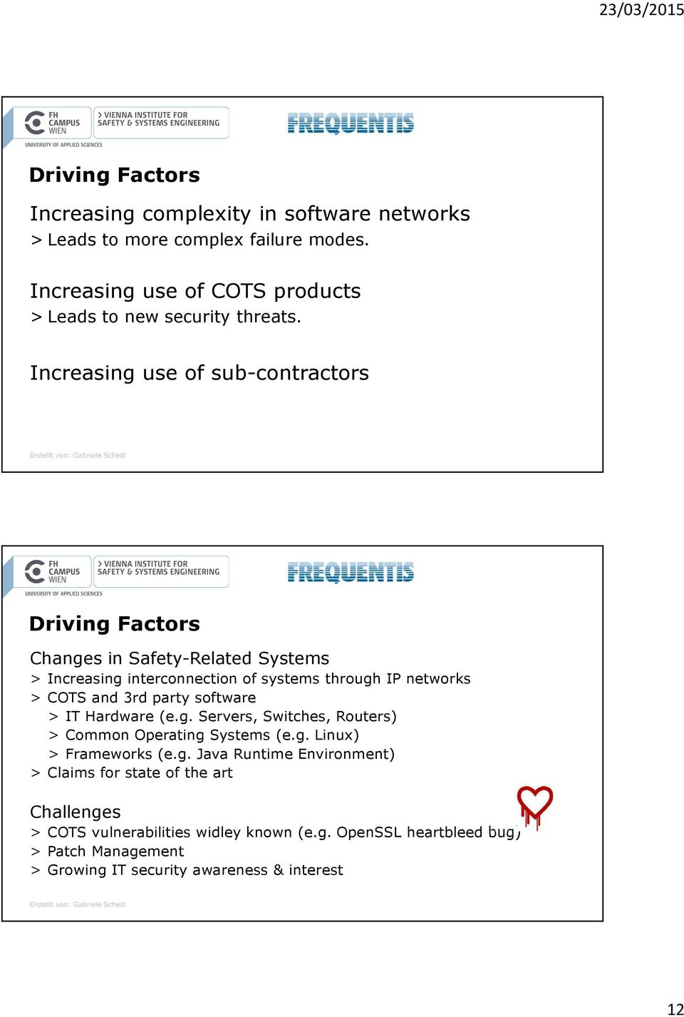 Increasing use of sub-contractors Driving Factors Changes in Safety-Related Systems > Increasing interconnection of systems through IP networks > COTS and 3rd