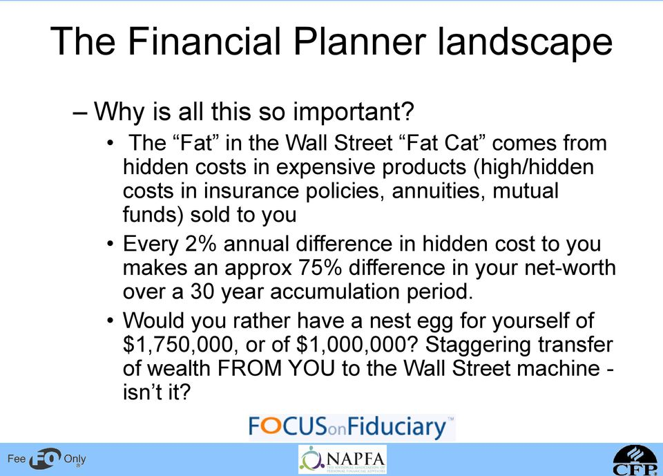 annuities, mutual funds) sold to you Every 2% annual difference in hidden cost to you makes an approx 75% difference in your