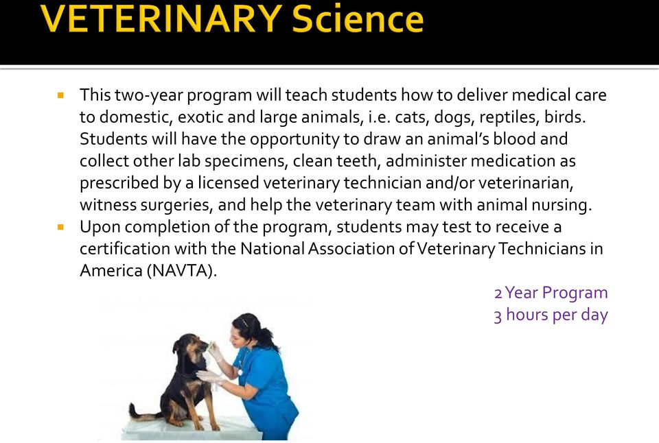 by a licensed veterinary technician and/or veterinarian, witness surgeries, and help the veterinary team with animal nursing.
