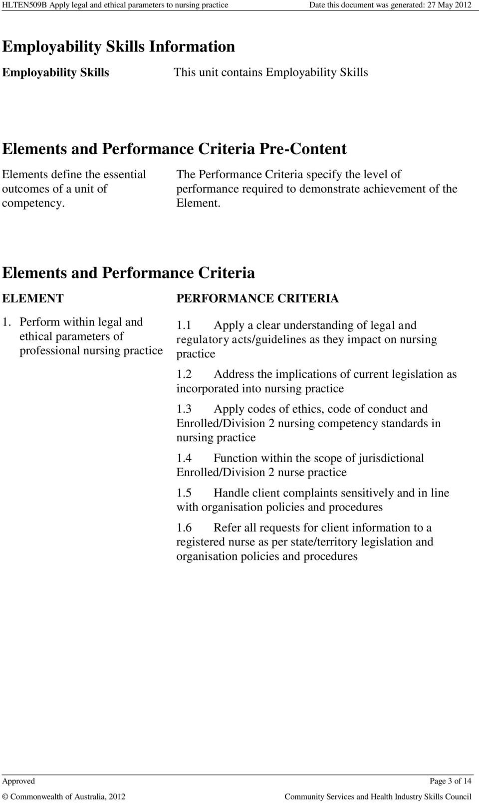 Perform within legal and ethical parameters of professional nursing practice PERFORMANCE CRITERIA 1.