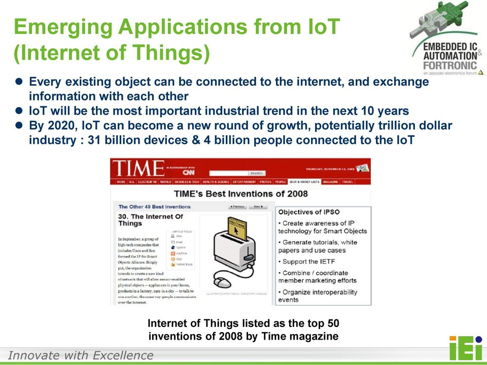 By 2020, IoT can become a new round of growth, potentially trillion dollar industry : 31 billion devices & 4