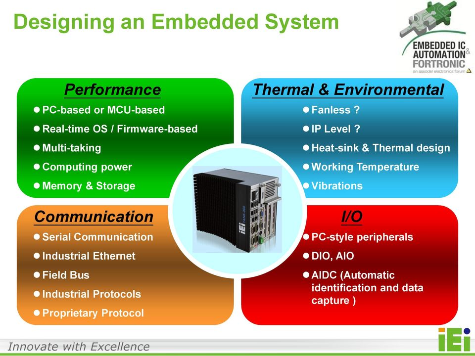 Industrial Protocols Proprietary Protocol Thermal & Environmental Fanless? IP Level?