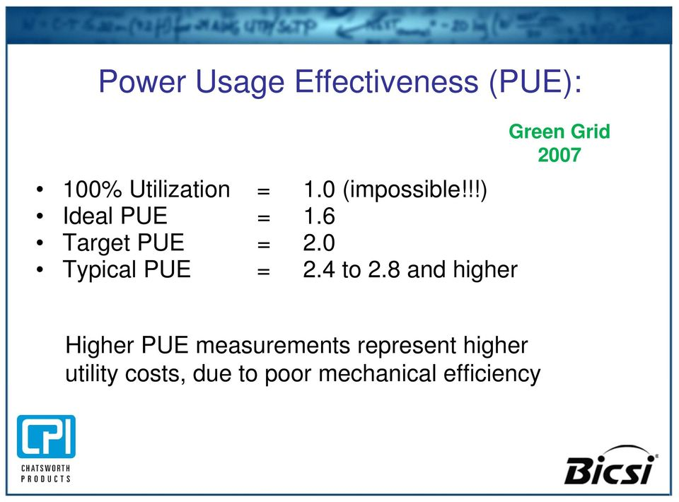0 Typical PUE = 2.4 to 2.