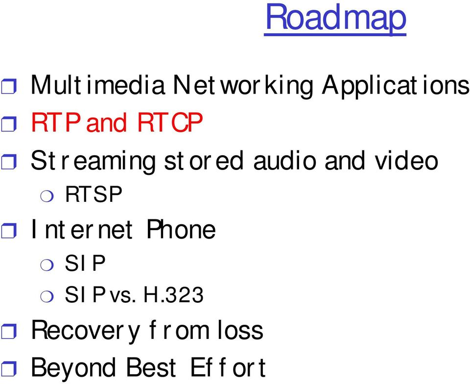 stored audio and video RTSP Internet