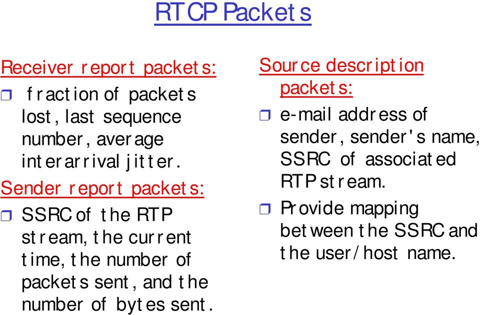 Sender report packets: SSRC of the RTP stream, the current time, the number of packets sent, and